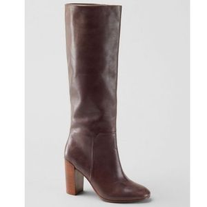 Lands End Brown Leather Tall Heeled Buckle Boots